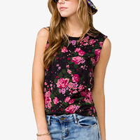 Distressed Rose Muscle Tee | FOREVER 21 - 2018628563