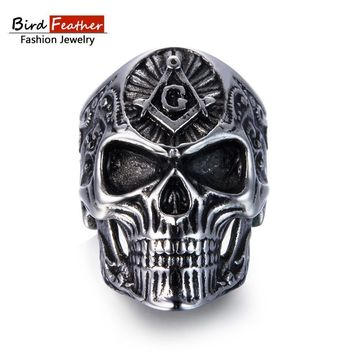 Bird Feather Stainless Steel Men Ring Masonic Skull Titanium Rings for Vintage Punk Fashion Jewelry Woman Wedding Ring