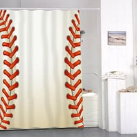 Baseball Texture Ball shower curtains that will make your bathroom adorable