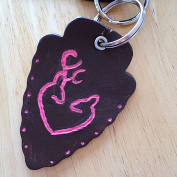Pink Browning Leather Keychain