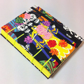 Handmade Fabric Journal - Coptic Stitched - Skeletons - Neon Yellow