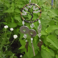 TREE OF LIFE Mini Wire Wrap Wind Chime Garden and Home Decor Yard Brass and Crystals Upcycled