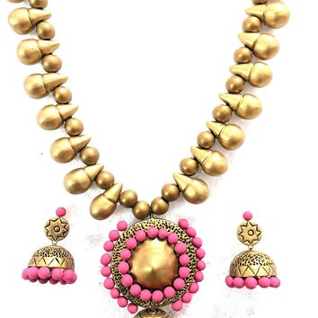 Terracotta Jhumka hanging bold Necklace and earring Set