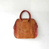 vintage leather handbag. India purse. tooled leather bag.