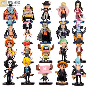 anime figures Q Version One Piece Luffy Zoro Action Figures PVC Figures Collection Model Toys Japanese Anime Animation 20pcs set