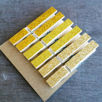Decorative Glitter Clothespins, Clothespegs, Gold Ombre, Decorative Clips, Refrigerator Fridge Magnet, Cubicle Decor, Photo Hanger