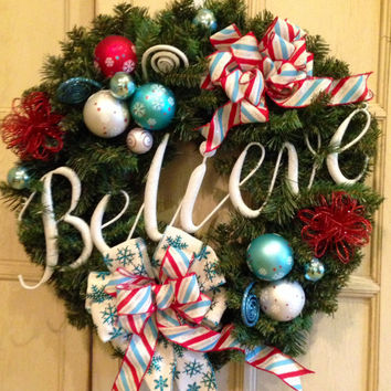 Decorative Christmas Wreath, Believe Christmas Wreath, Large Christmas Wreath, Christmas Decoration, Christmas Gift, Christmas Door Wreath