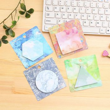 Creative Geometry Memo Pad Post It Note Cute Kawaii Paper Sticker Notepads For Kids School Supplies Free Shipping 3823