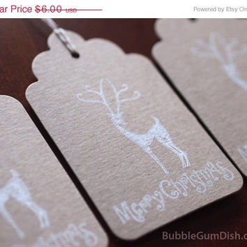 Reindeer Holiday Hang Tags Gift Tags Set of 6 Merry Christmas Hand Stamped 3x5 Large Chipboard