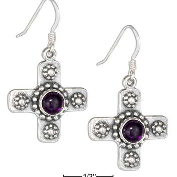 Sterling Silver Southwest Cross Earrings With Amethyst And Flowers