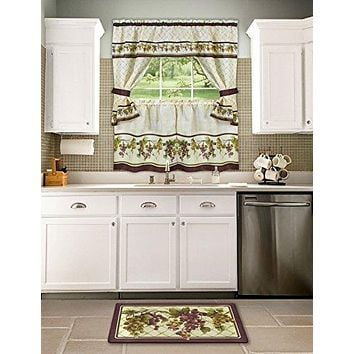Ben&Jonah Collection Tuscany Cottage Window Curtain Set - 57x24 Tier Pair/57x36 Tailored Topper with attached valance and tiebacks. - Multi