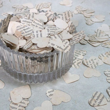 Wedding Confetti, French Hearts, Wedding Reception Decor, Vintage Paper Confetti, Made from French paper, 700