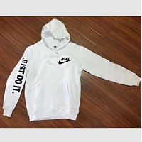 """NIKE"" ""Just do it"" Sleeve Women Men Fashion Hooded Top Pullover Sweater Sweatshirt (4-color) F"
