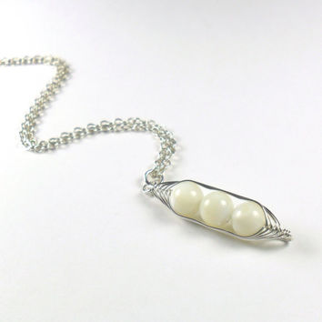 Peas in a Pod Mother of Pearl Herringbone Wire Wrapped Sterling Silver Pendant Necklace