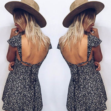 Boho Casual Open-Back Dress