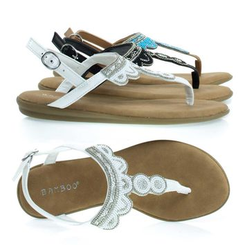 Tundra59 White By Bamboo, Comfortable Padded Flat Sandal w Tribal Inspired Beads & Rhinestone