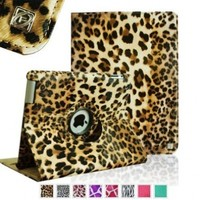 Fintie (Leopard Brown) 360 Degree Rotating Stand Smart Cover Leather Case for iPad 4th Generation With Retina Display, the new iPad 3 & iPad 2 (Wake/sleep Function)-Multi Style Options
