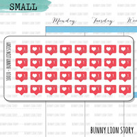 BLS10010 | 32 Small Social Media Like Heart Follow Achievement Journal Diary Cute Kawaii Planner Agenda Reminder Schedule Scrapbook Stickers