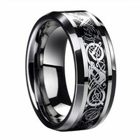 D&J Jewelry Stainless Steel Celtic Dragon Men's Wedding Band Engaement Ring Size 10 STR15
