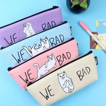 1pcs Sell Kawaii Canvas White Cats Pencils Case School Supplies Bts Stationery Gift Estuches School Cute Pencil Box PencilBags
