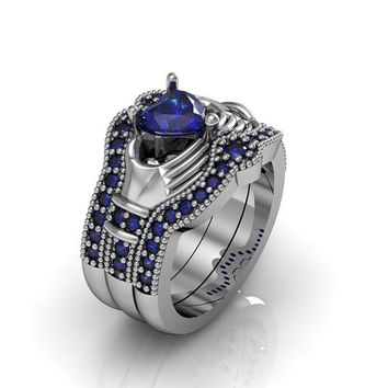 Claddagh Ring - Created Blue Sapphire Sterling Silver Love and Friendship Engagement Ring Trio Set