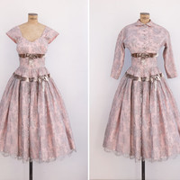 1950s Dress - Vintage 50s Pink & Grey Lace Dress - Last Waltz Dress