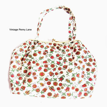 2 in 1 Vintage Costmetic Bag / Purse, Plastic Lined / Retro Floral Cotton