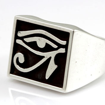 Silver Eye of Horus Ring,egyptian ring,Silver with Black Oxidized.