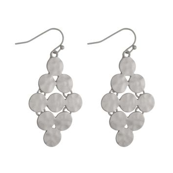 Hammered Circles Diamond Shape Earrings