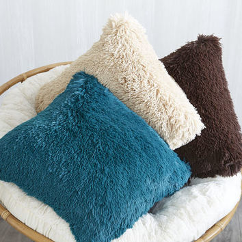 Oversized Shaggy Ivory Pillow