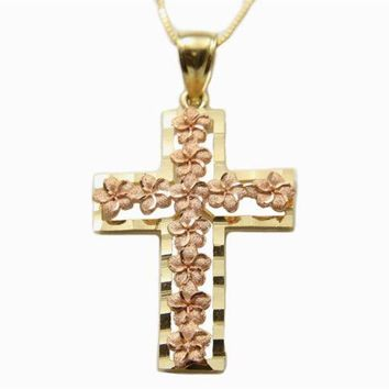 SOLID 14K PINK ROSE GOLD HAWAIIAN PLUMERIA YELLOW GOLD CROSS PENDANT 21MM