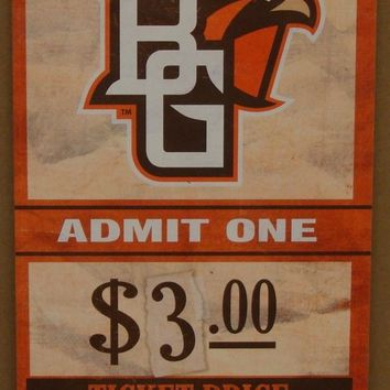 "BOWLING GREEN FALCONS GAME TICKET ADMIT ONE WOOD SIGN 6""X12'' NEW WINCRAFT"