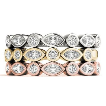 Stackables 1/2 Eternity Tri-Tone Gold Marquise & Round Full Bezel 3-Band Set