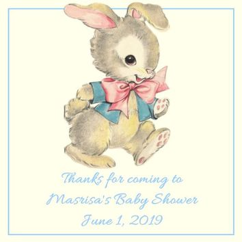Vintage Bunny Baby Shower Stickers