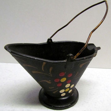 Vintage Hand Painted Metal Coal Bucket