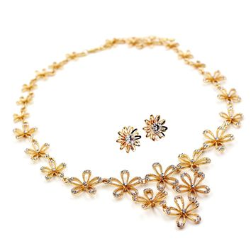 gold flowers crystal necklace earrings set