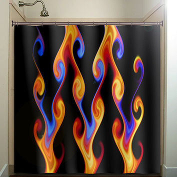 orange red blue fire ball fireball chevron shower curtain bathroom decor fabric kids bath white black custom duvet cover rug mat window
