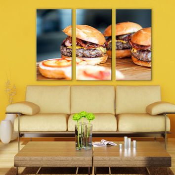 Fast Food Photography Canvas Print 3 Panels Print Kitchen Art Wall Deco Fine Art Photography Repro Print for Home and Office Wall Decoration