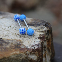 Blue Checkered and Skull Barbell Tongue Ring SET - Barbell - Body Jewelry - Tongue Piercing Jewelry - Conch Bar - Replacement Balls