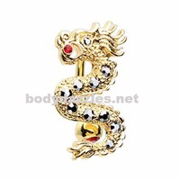 Don't wake the Dragon Belly Button Ring Navel Ring Belly Piercing 14ga 316L Surgical Stainless Steel Body Jewelry