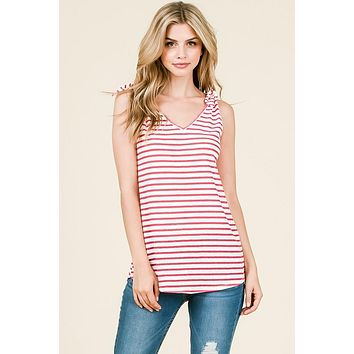 The Lilly Red Striped Tank with Bows