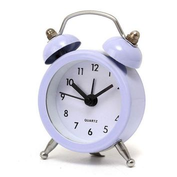 ICIK272 New Fashion Home Decor Metal Double Twin Bell Silent No ticking Metal Desk Table Alarm Clock 6 Colors 50x45x115mm