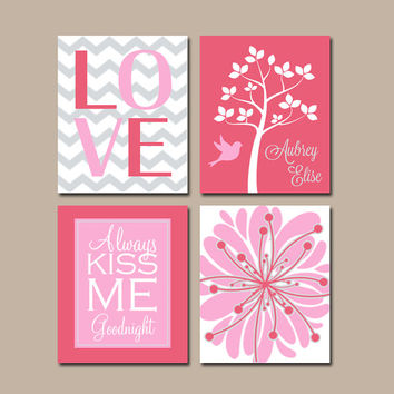 Pink Nursery Wall Art CANVAS or Prints Girl Nursery Love Chevron Personalized Name Tree Bird  Set of 4 Matching Bedding Baby Flower Decor