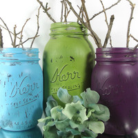 Purple, Blue and Green Mason Jar Decor