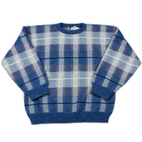 Vintage 80s Blue Plaid Sweater Made in Italy Mens Size Large
