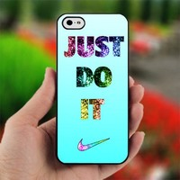 Nike Just Do It cyan Bling - Photo on Hard Cover For iPhone 5