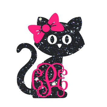 Cat Monogram Decal - Kitty Cat Decal - Cat Mom - Cat Lover - Cat Monogram - Monogram Yeti Decal - Car Decal - Custom Decal - Yeti Cat