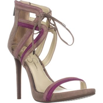 Jessica Simpson Rensa Lace Up Ankle Strap Sandals, Warm Taupe Combo, 7.5 US / 37.5 EU
