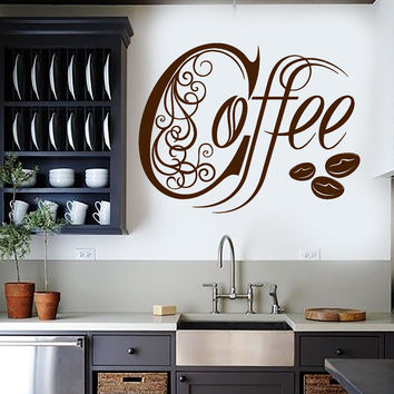 Vinyl Wall Decal Kitchen Coffee Shop House Cafe Decor Stickers Mural