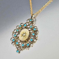 Charming Antique Filigree Turquoise and Pearl Pendant